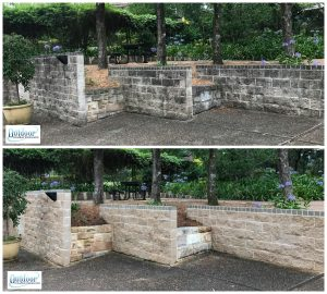 Commercial sandstone cleaning, before and after.