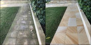 High pressure cleaning on pavers, before and after