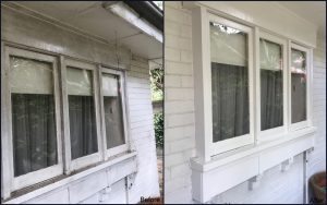 Professional house washing exterior, before and after.